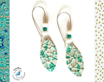 Earrings sleepers drops mosaic turquoise earrings white Nespresso Capsules Nespresso gift Christmas light jewelry