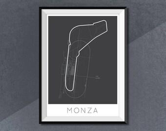 Circuit de Monza  Formula 1 Print, F1 Race Track Circuit Map Monza Italy