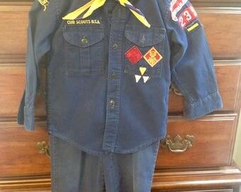 Vintage 1960's Cub Scouts Uniform a With Scarf