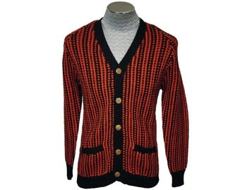 Vintage 1960s Mens Wool Cardigan Sweater - Red and Black Stripes - M
