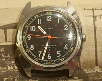 RARE 1977 Timex Military Style Crosshair self-winding/automatic mechanical watch (NOS 21 Jewel movement, serviced)