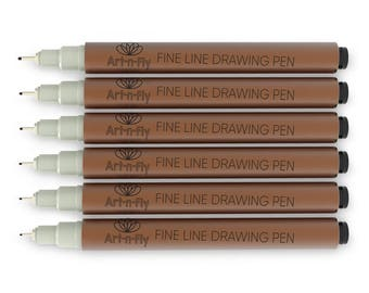 Sepia Pens Fine Tip Inking Pens Pigment Liner with Archival Ink for Illustration Sketching Drawing Comic Manga