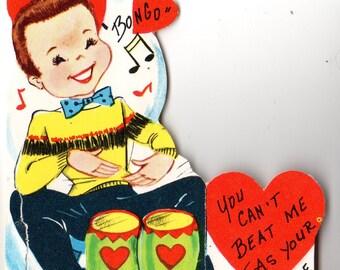 Vintage Boy with Bongo Drum Die-Cut Children's Classroom Valentine's Day Card