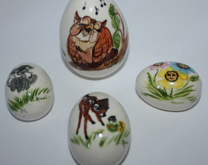 Vintage Bambi Hand Painted Eggs Signed Rosali