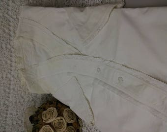 handmade white lace cotton antique Nightgown