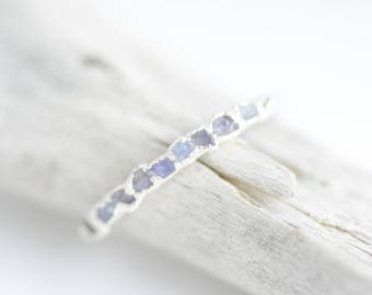 Raw Tanzanite Ring.Raw Tanzanite Ring.Tanzanite Ring.Tanzanite Wedding Band Silver Tanzanite Ring December Birthstone Ring