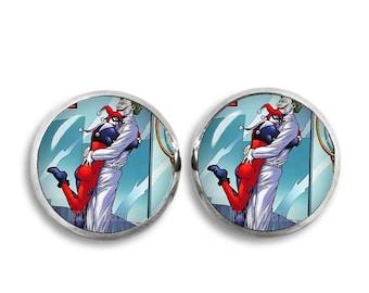 Harley Quinn and Joker Earrings Fandom Jewelry Harley Quinn Studs Cosplay Fangirl Fanboy