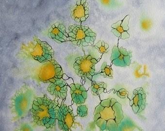 """Art contemporain - Encres sur papier """"Envolées 2""""  -oeurvre originale -  Encre vert/bleu"""