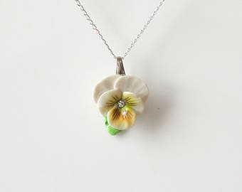 Porcelain Yellow Pansy pendant with sterling silver necklace/ Pansy Necklace/ Pansy Pendant/ Pansy/ Flower Necklace/ Flower Pendant/ Yellow