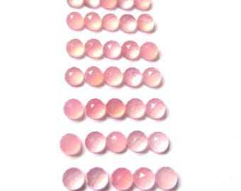 25 Pcs 5mm Pink Chalcedony Round Rose Cut Flat Back Cabochon Round loose gemstone - Pink Chalcedony cabochon Gemstone faceted cabochon Round