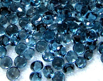 5 pcs 7mm London Blue Topaz Faceted Round Loose Gemstone, 100% Natural london Blue Topaz gemstone faceted london blue topaz round faceted