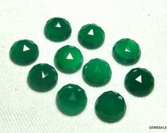 25 pcs Lot 6mm Green Onyx Round Rose Cut gemstone, Green Onyx Rose Cut cabochon round Gemstone, Green Onyx Rose Cut Faceted Round Cabochon