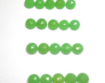 10 pieces 3mm Chrysoprase Chalcedony Round Rose Cut calibrated, Chrysoprase Chalcedony Faceted Round Cabochons, Chrysoprase RoseCut Faceted