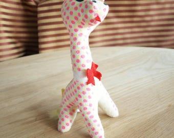 Vintage Stuffed Giraffe Plushy with Pink and Yellow Polka Dots by Sakai Co.
