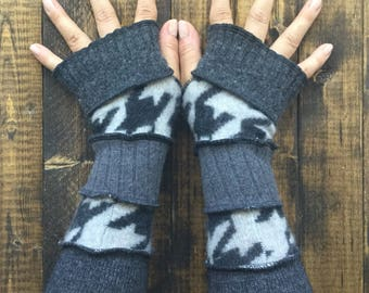 Arm Warmers -Made from Recycled Knit Sweaters// Fingerless Gloves// Upcycled Clothing