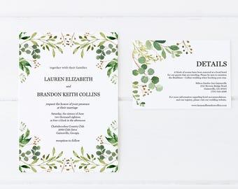 Greenery Wedding Invitations, Eucalyptus Wedding Invitations, Wedding Invitation Set, Printable Wedding Invitations, Botanical Invitations