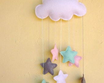 White felt cloud nursery mobile with a cascade of baby pink, mint green and elephant grey stars can be personalised