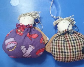 Two hand-sewn angel ornaments