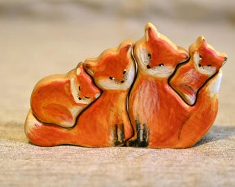 New! Wooden FOX Family / RACOON family puzzle , Family Anniversary gift waldorf toy