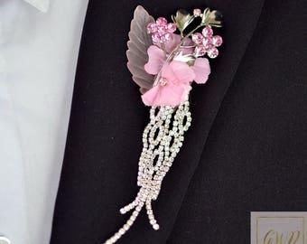 Wedding Boutonniere Buttonhole Boutonnieres Wedding Grooms Boutonniere Crystal Boutonniere Jewelry Boutonniere Silver Pink Boutonniere