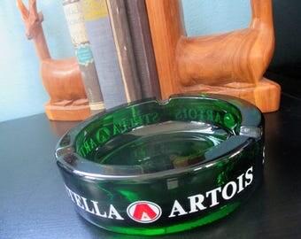 Vintage Ashtray, Stella Artois, Beer Advertising, Pub, Bar, Man Cave, Green Glass, Tobacciana, Brewery, Breweriana Collectible, Bar Décor