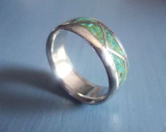Vintage Ring, Turquoise and Sterling Silver Ring, Inlaid Stones, New Mexico Estate Jewelry, Southwest, Chunky, Mens Rings, Gifts for Him