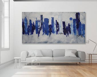 Abstract CityScape Painting / Modern Art / Blue Abstract CityScape / Blue Art / Blue Painting / Large CityScape Art / XL Painting