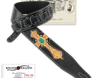 Black Leather Guitar Strap Hand Tooled Gold & Turquoise Cross CVG-22