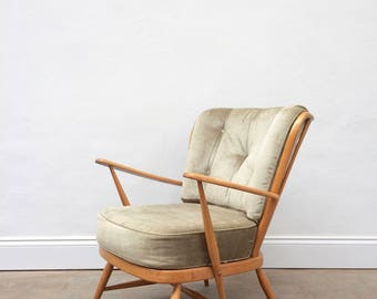 Vintage 1960s Ercol Blonde Windsor Arm Chair. Retro Mid Century.