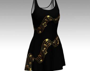 Music Dress, Music Notes Dress, Black Dress, Musical Print, Flare Dress, Skater Dress, Bodycon Dress, Fitted Dress, Pretty Dress, Cute Dress