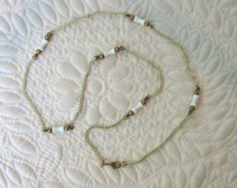 Vintage MONET Necklace White Enamel and Gold Tone Metal