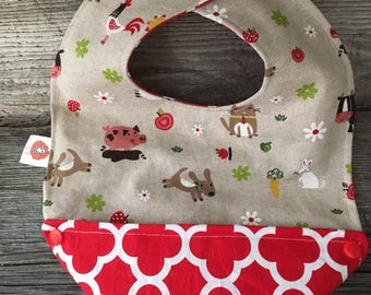 Reversible scalable bavana animals bib bandana baby bib farm cat dog cow Rooster pig rabbit