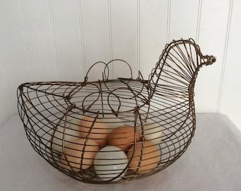Vintage Chicken Shaped Wire Basket, Primitive Wire Egg Basket with Handles, Rustic/Farm Basket, Vintage Egg Basket