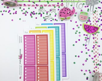 Small and medium side bars with hearts, stickers for the Classic Happy Planner, Item # W366