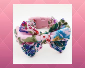 Pink Patchwork Flowers & Bow Dog or Puppy Collar