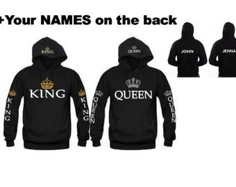 KING - QUEEN Hoodies+Your name or other text