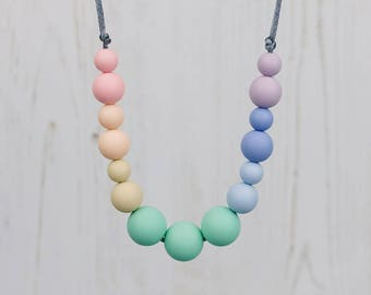 Rainbow Teething Necklace, Teething Necklace, Silicone Beads, Breastfeeding Necklace, Teething Jewellery, New Mum Gift, Baby Shower Gift
