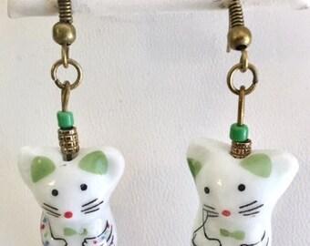 Cute Porcelain Mousie Mouse Earrings