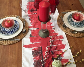 Red table runner-Design led modern contemporary table decoration-Crimson-cotton home ware in the modern style. Designer tableware. six foot