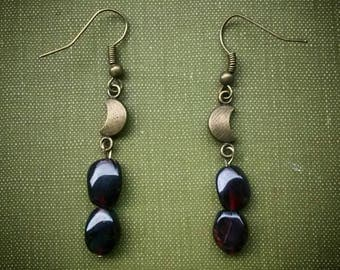 Garnet, Red, Gemstone, Moon, Lunar, Bronze, Earrings, Occult, Witch, Gypsy, Boho, Festival, Steampunk, Wanderlust, Witch, Red, Coven, Tarot