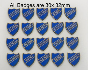 SCHOOL BADGES. BLUE House A collection of 20 X Retro Looking Badges