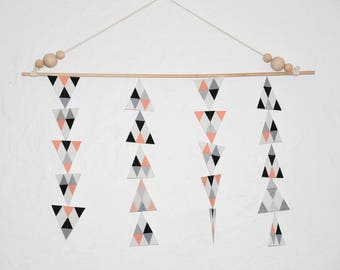 AW-CREATIONS - Mobile decoration - Scandinavian trend - coral, gray, black, silver and white tones