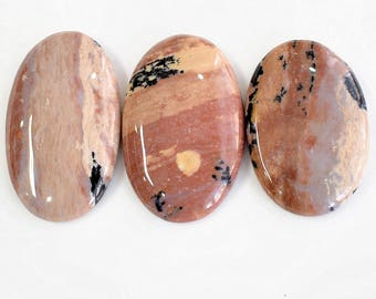 Natural Honey Dendritic Agate Gemstone, 145 ct Healing Cabochon, Jewelry Making Honey Dendritic Agate, 3 Pcs Genuine Smooth Cabochons