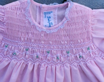 Vintage BABY TOGS Light Pink Smocked Dress Size 3-6 Mos.