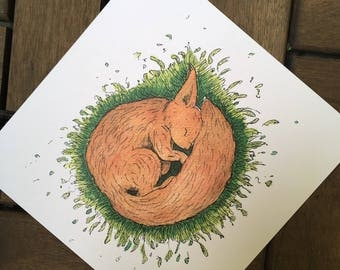 Sleep tight - squirrel - post card 14, 8 x 14, 8 cm, 300 g