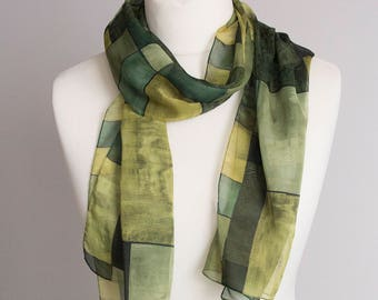 "vintage long scarf, geometric rectangle scarf, polyester scarf, women scarf shawl 34x152cm / 13x60"" sheer scarf green"