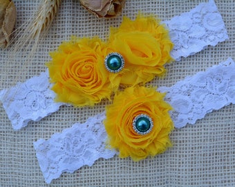 Sunflower Garter, Yellow Garter Set, Brides Garter, Yellow Wedding Gift, Brides Garters, Bridal Clothing, Yellow Lingerie, White Lace Garter