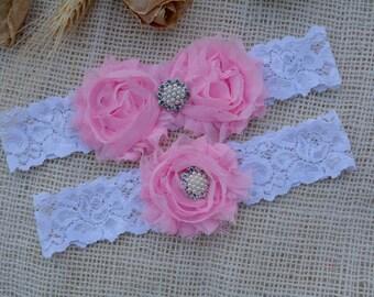 Pink Wedding Garter, White Garter Set, Pink Bridal Clothing, Flower Pink Garter, Gift Bridal, Lace Garter Pink, Garters, White Keep Garter