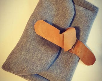 Gray Cotton  clutch