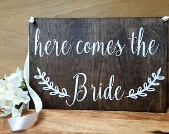 CUSTOM Double Sided Ring Bearer Sign-Here Comes the Bride Sign-Flower Girl Sign